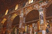 image of church interior  - Detail Interior of the famous Cappella Palatina in the Palazzo Reale in Palermo in Sicily Italy - JPG