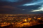 pic of tehran  - Night shot from Tehran skyline and illuminated buildings of the city just after sunset - JPG
