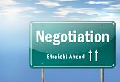 foto of negotiating  - Image Graphic Highway Signpost with Negotiation wording - JPG