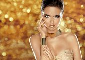 picture of woman glamorous  - Glamorous beauty fashion girl portrait - JPG