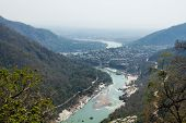 stock photo of gang  - Rishikesh Valley on the Ganges river - JPG