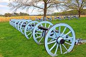 image of artillery  - Revolutionary War cannons on display at Valley Forge National Historical Park Pennsylvania USA - JPG