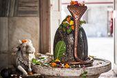 image of lingam  - A shiva linga in a shrine in RIshikesh - JPG
