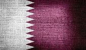 stock photo of qatar  - Grunge of Qatar flag on burlap fabric - JPG
