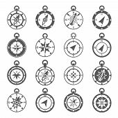picture of compasses  - Compass world discovery travel exploration equipment icon black set isolated vector illustration - JPG
