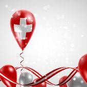 picture of balloon  - Swiss flag on balloon - JPG