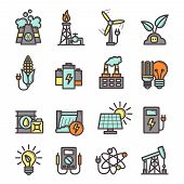 picture of manufacturing  - Energy manufacturing icons set with plug bulb pylon nuclear station isolated vector illustration - JPG