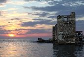 picture of crusader  - Byblos crusader sea castle at sunset in Lebanon - JPG