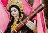 image of goddess  - Idol of goddess Saraswati during the Saraswati Puja in India - JPG