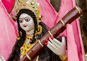 stock photo of saraswati  - Idol of goddess Saraswati during the Saraswati Puja in India - JPG