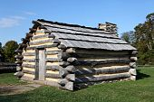 stock photo of revolutionary war  - Cabin used by Revolutionary War soldiers during the brutal winter of 1776 under the command of General George Washington - JPG
