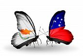 picture of samoa  - Two butterflies with flags on wings as symbol of relations Cyprus and Samoa - JPG