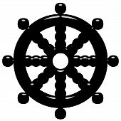 pic of shakti  - 3d Buddhism symbol Wheel of Dharma isolated in white - JPG