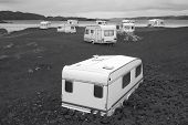 picture of camper  - Camper vans parked on a beach - JPG