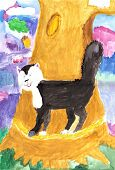 pic of wane  - Watercolor sketch of a cat from a fairy tale - JPG