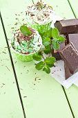 stock photo of bittersweet  - Frozen yogurt with mint and dark chocolate - JPG