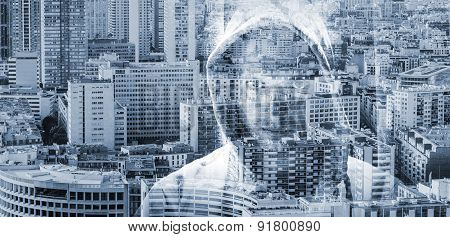 Man In A Hood Over Big Cityscape Background