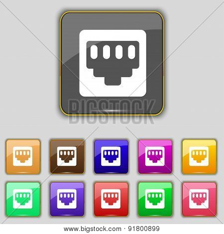 Cable Rj45, Patch Cord Icon Sign. Set With Eleven Colored Buttons For Your Site. Vector