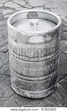 Used Aluminum Keg, Small Barrel With Beer