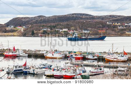 Small Norwegian Village, Moored Fishing Boats