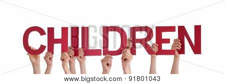 People Hands Holding Red Straight Word Children
