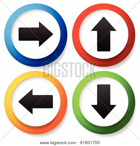 Colorful Arrow Icons Pointing To All Direction. Up, Down, Left And Right Arrows