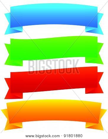 Wide, Blank Horizontal Banners. 4 Colors Included. Vector.
