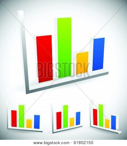 3D Bar Chart, Bar Graph Elements, Vector For Presentation, Statistics, Analytics Concepts.
