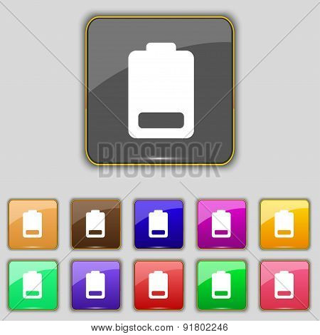 Battery Low Level, Electricity Icon Sign. Set With Eleven Colored Buttons For Your Site. Vector