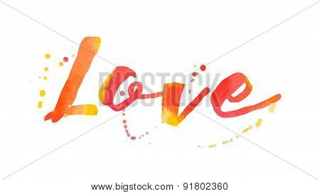 Beautiful Watercolor Love Typographic Background
