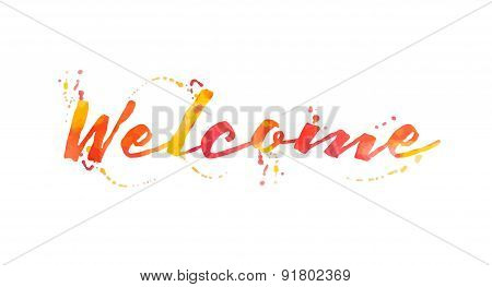 Beautiful Watercolor Welcome Typographic Background