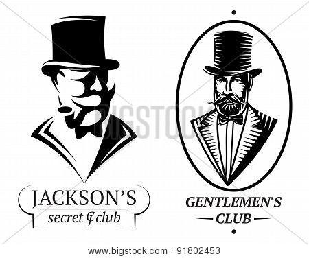 Set Vector Logo Templates For Gentlemen's Club
