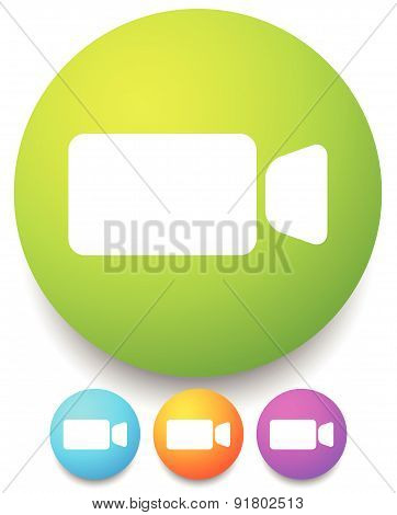 Round Icon With Small, Compact Video Camera, Handycam Symbol Icon For Video, Multimedia, Filming Con