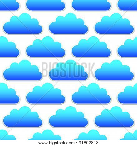 Cloud Pattern With Blue Round, Cumulus Clouds Over White. Seamlessly Repeatable.