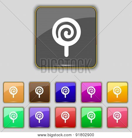 Candy Icon Sign. Set With Eleven Colored Buttons For Your Site. Vector