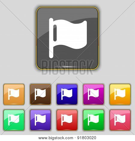 Flag Icon Sign. Set With Eleven Colored Buttons For Your Site. Vector