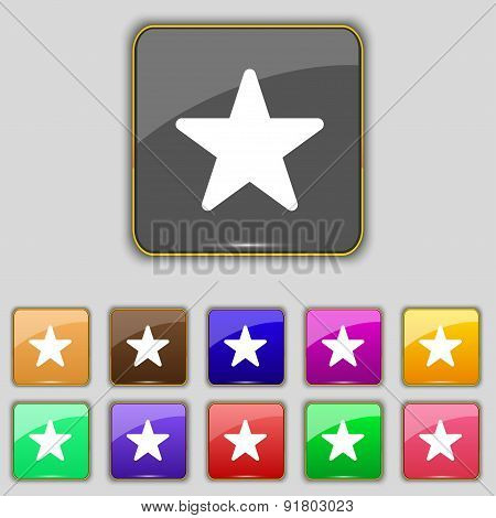 Favorite Star Icon Sign. Set With Eleven Colored Buttons For Your Site. Vector