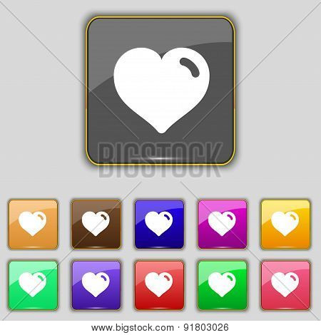 Heart, Love Icon Sign. Set With Eleven Colored Buttons For Your Site. Vector