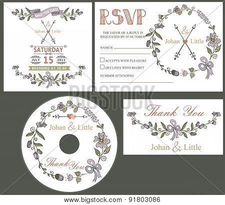 Vintage wedding design template set with flowers decor