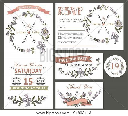 Vintage wedding design template set with flowers