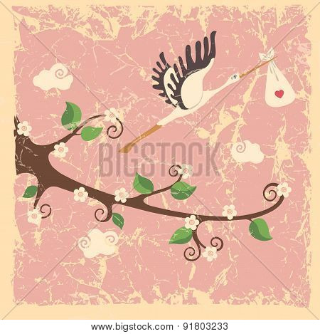 Vintage cartoon flowering branch, stork ,newborn baby girl