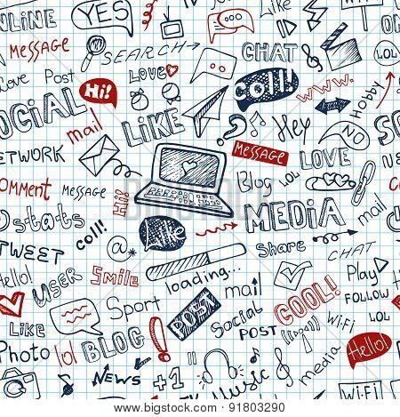 Social Media Word,Icon seamless pattern.Doodle sketchy Notepaper