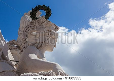 Statue Close Up  On Augusta Street Arch In Lisbon - Portugal