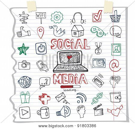 Social Media Word and Icon.Doodle sketchy Notepaper