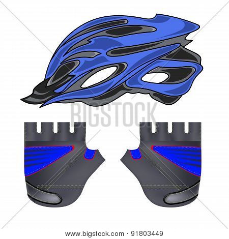 Blue Helmet and Gloves
