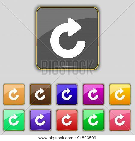 Upgrade, Arrow Icon Sign. Set With Eleven Colored Buttons For Your Site. Vector
