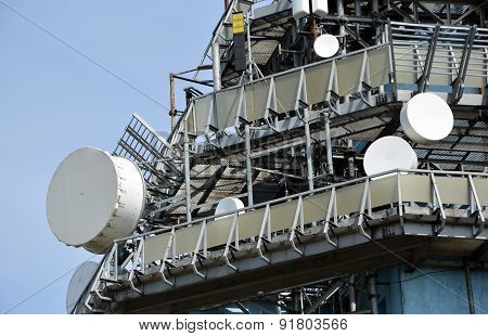 Telecommunications Tower With A Lot Of Transmitters