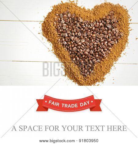 Fair Trade graphic against coffee in heart shape