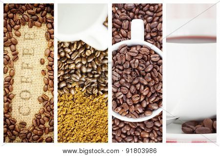 Coffee beans surrounding coffee stamp on sack against coffee