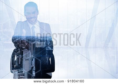 Smiling businessman on an chair office offering handshake against high angle view of city skyline